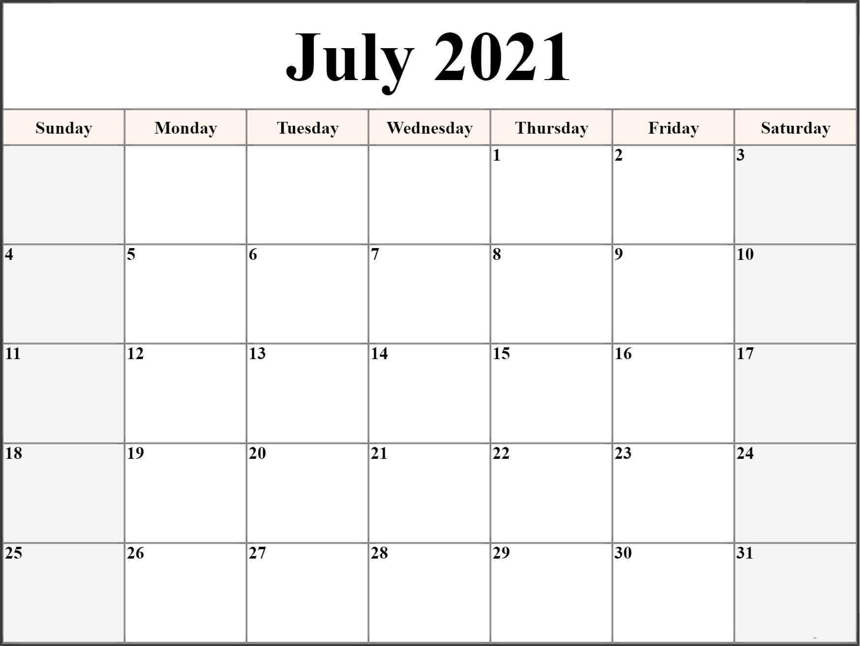 free printable july 2021 calendar template in pdf word calendar dream::Blank July 2021 Calendar Free