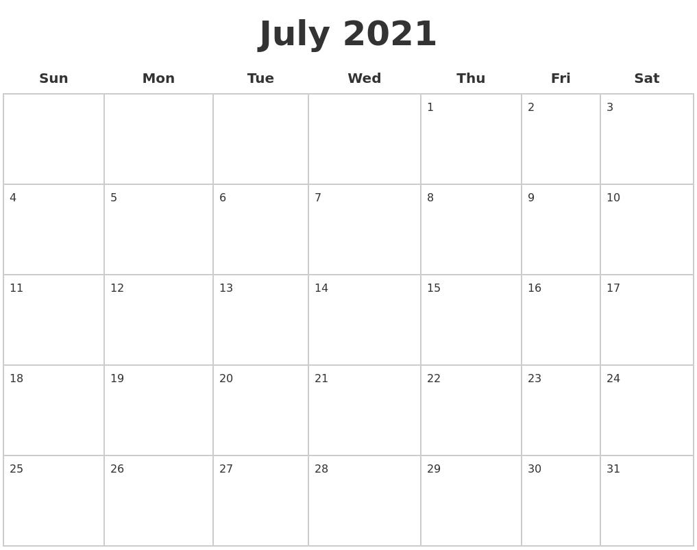 july 2021 blank calendar pages::Blank July 2021 Calendar Free