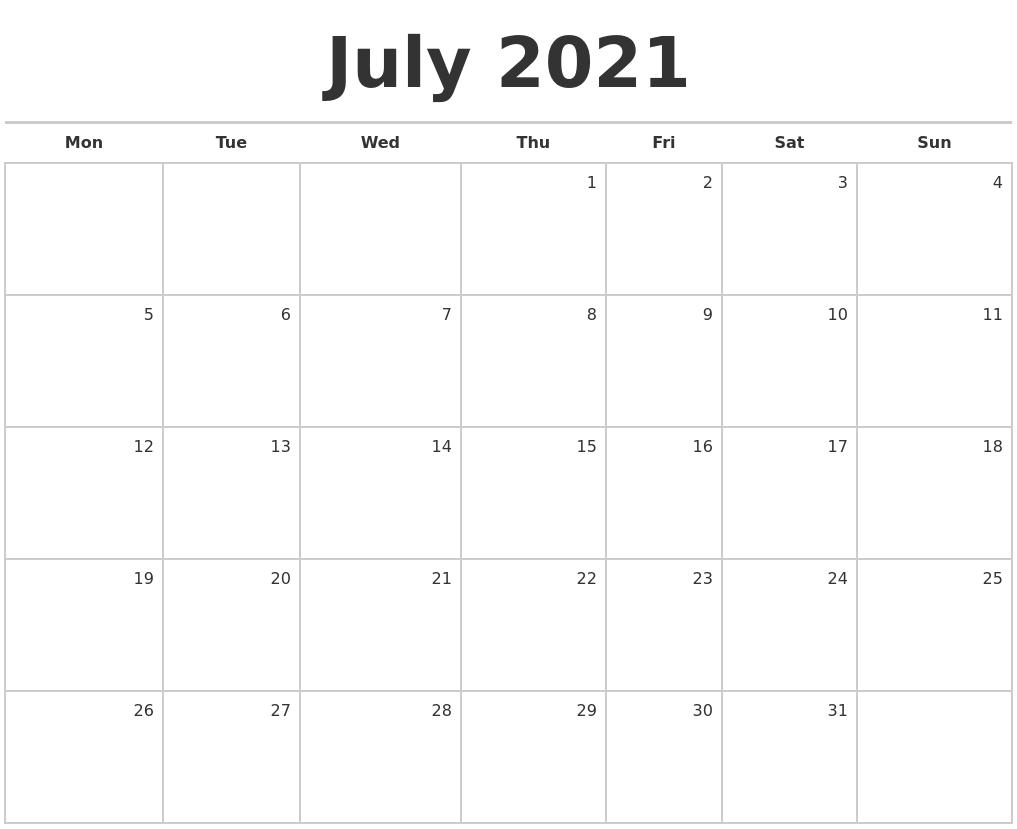 july 2021 blank monthly calendar::Blank July 2021 Calendar Free