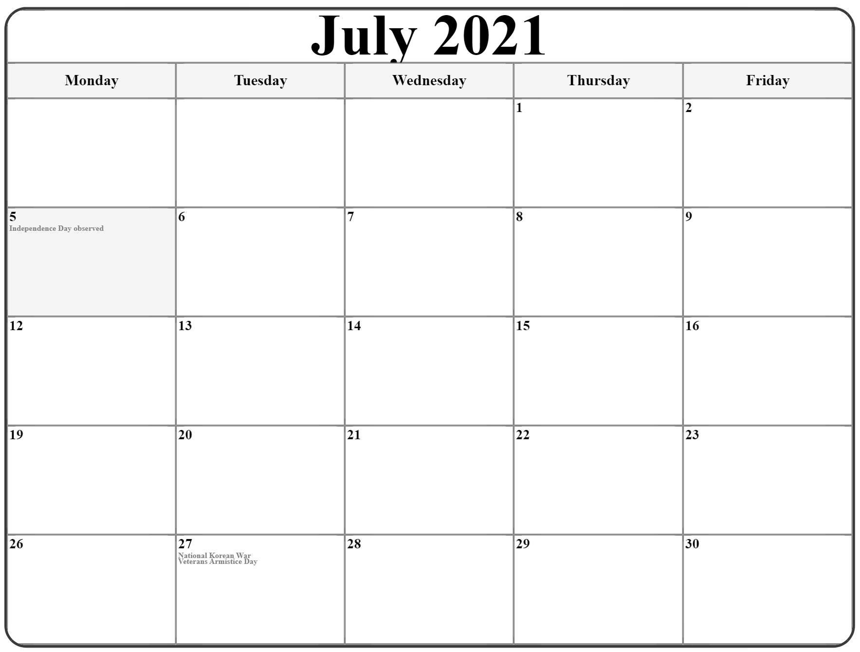 july 2021 monday calendar monday to sunday::Blank July 2021 Calendar Free