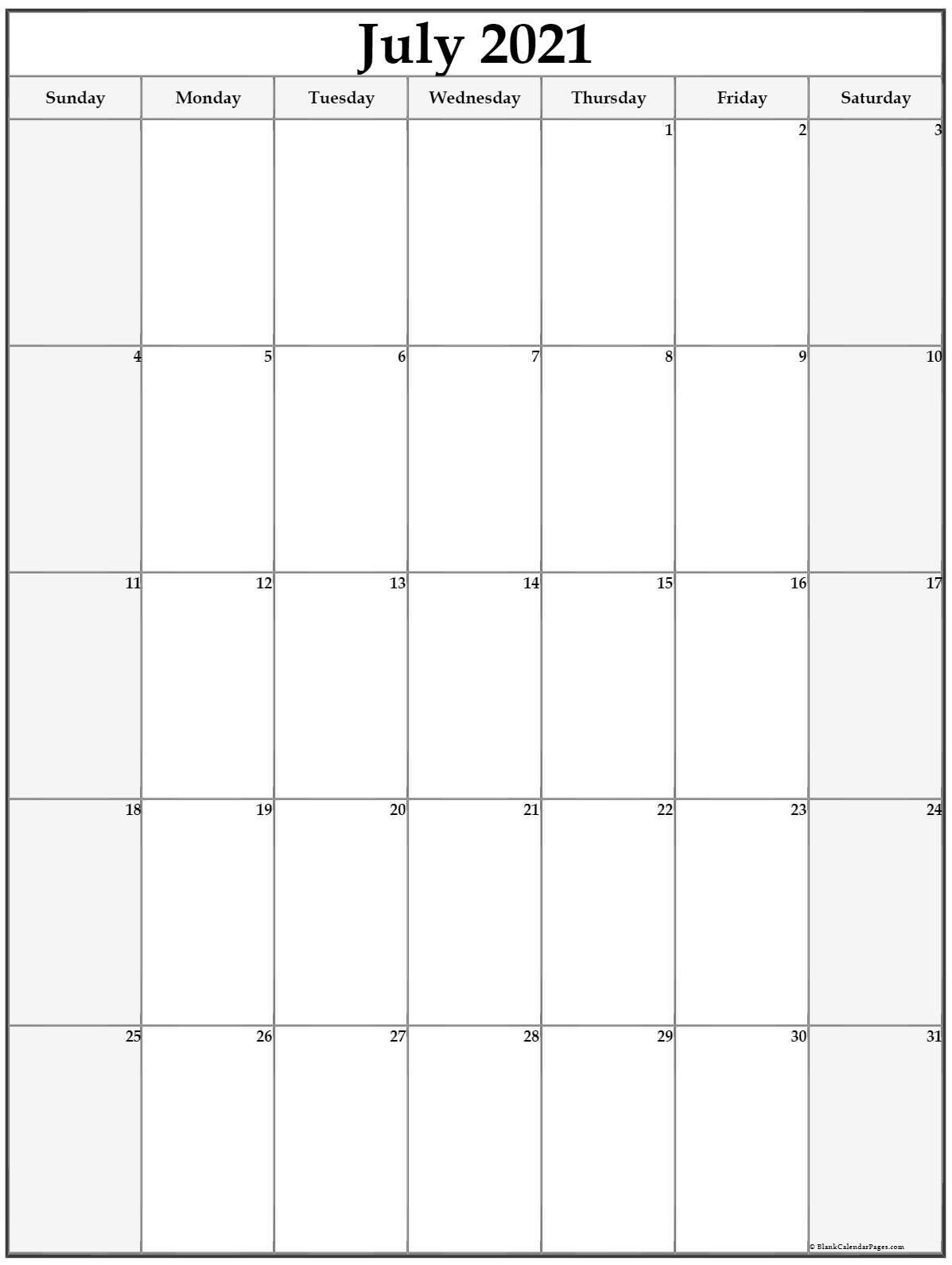 july 2021 vertical calendar portrait::Blank July 2021 Calendar Free