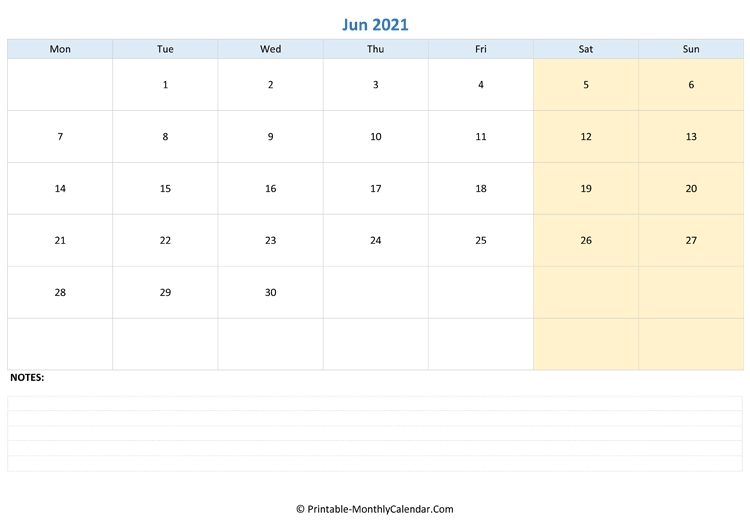 june 2021 calendar printable with note blue::june 2021 with note