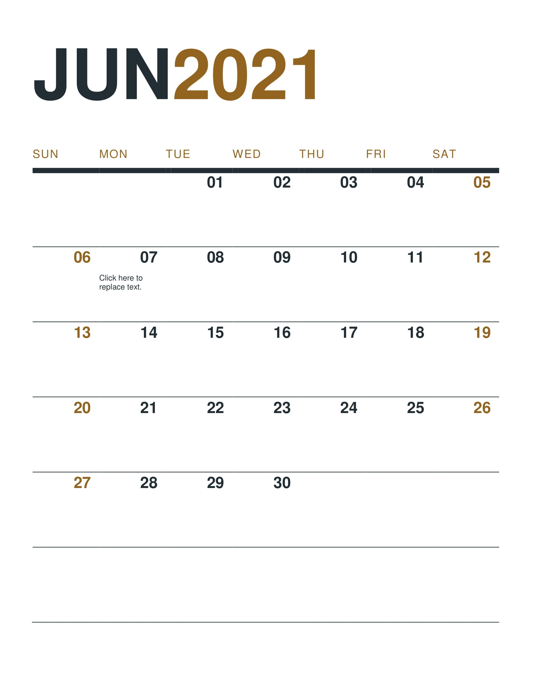 Blank June 2021 Calendar With Note