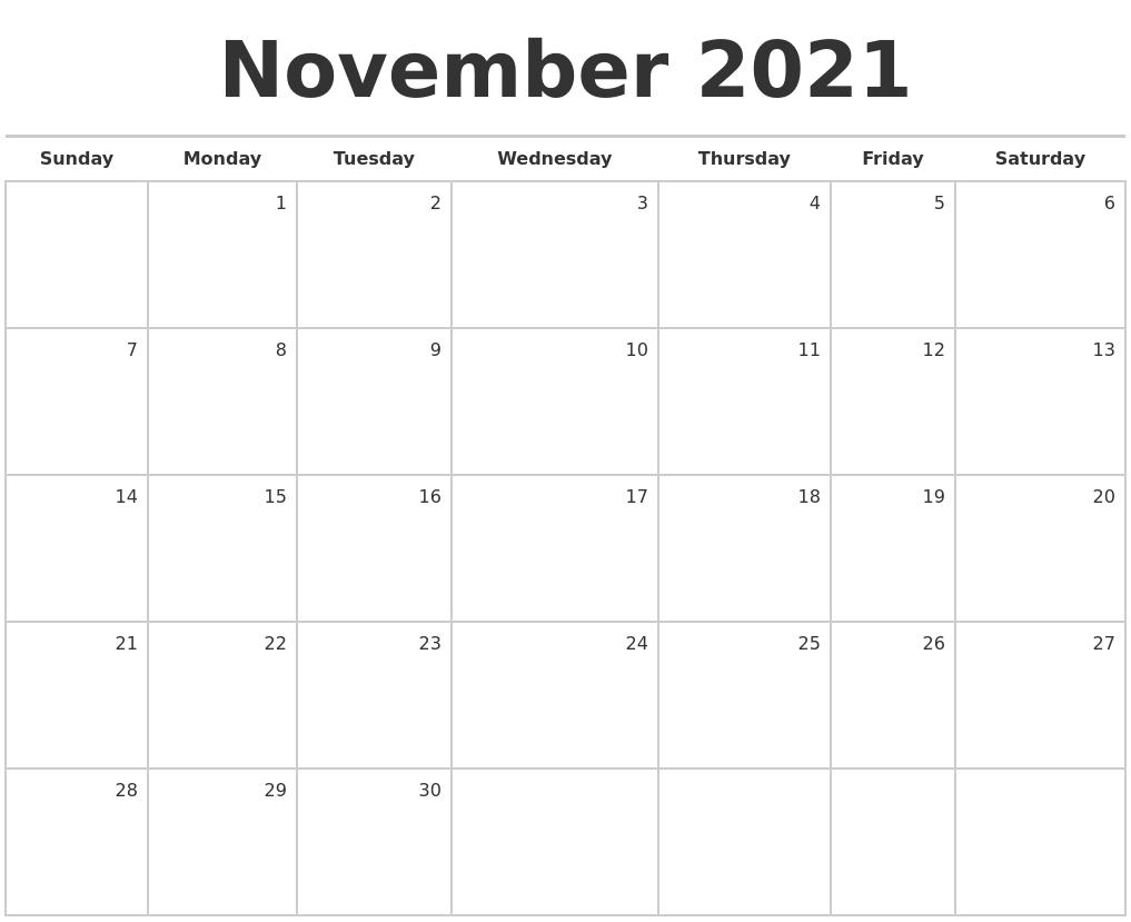 Monthly ::Blank Calendar November 2021 Printable