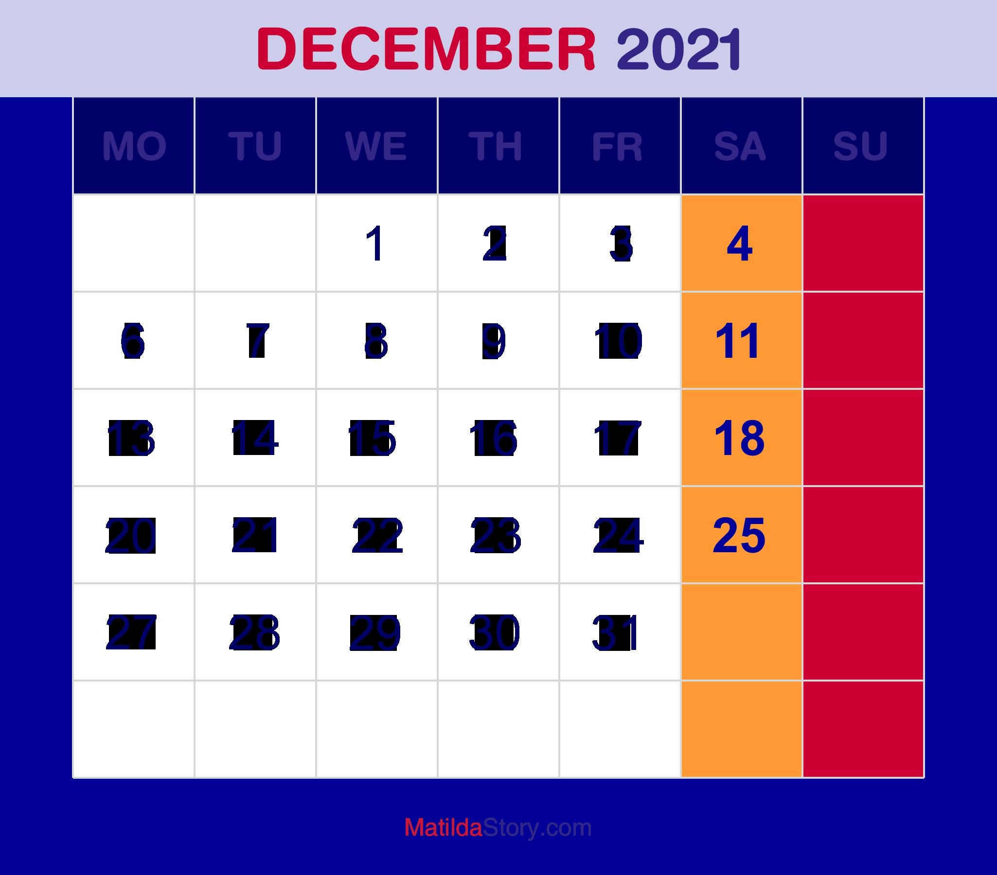 Monthly Planner ::Blank Calendar December 2021 Printable Free