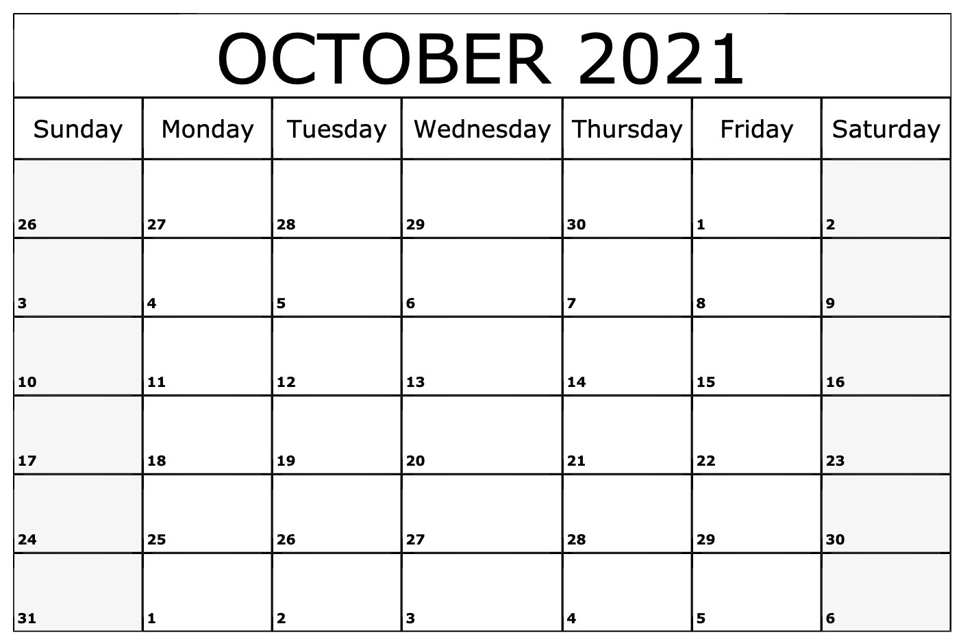 Monthly::Blank October 2021 Calendar Printable