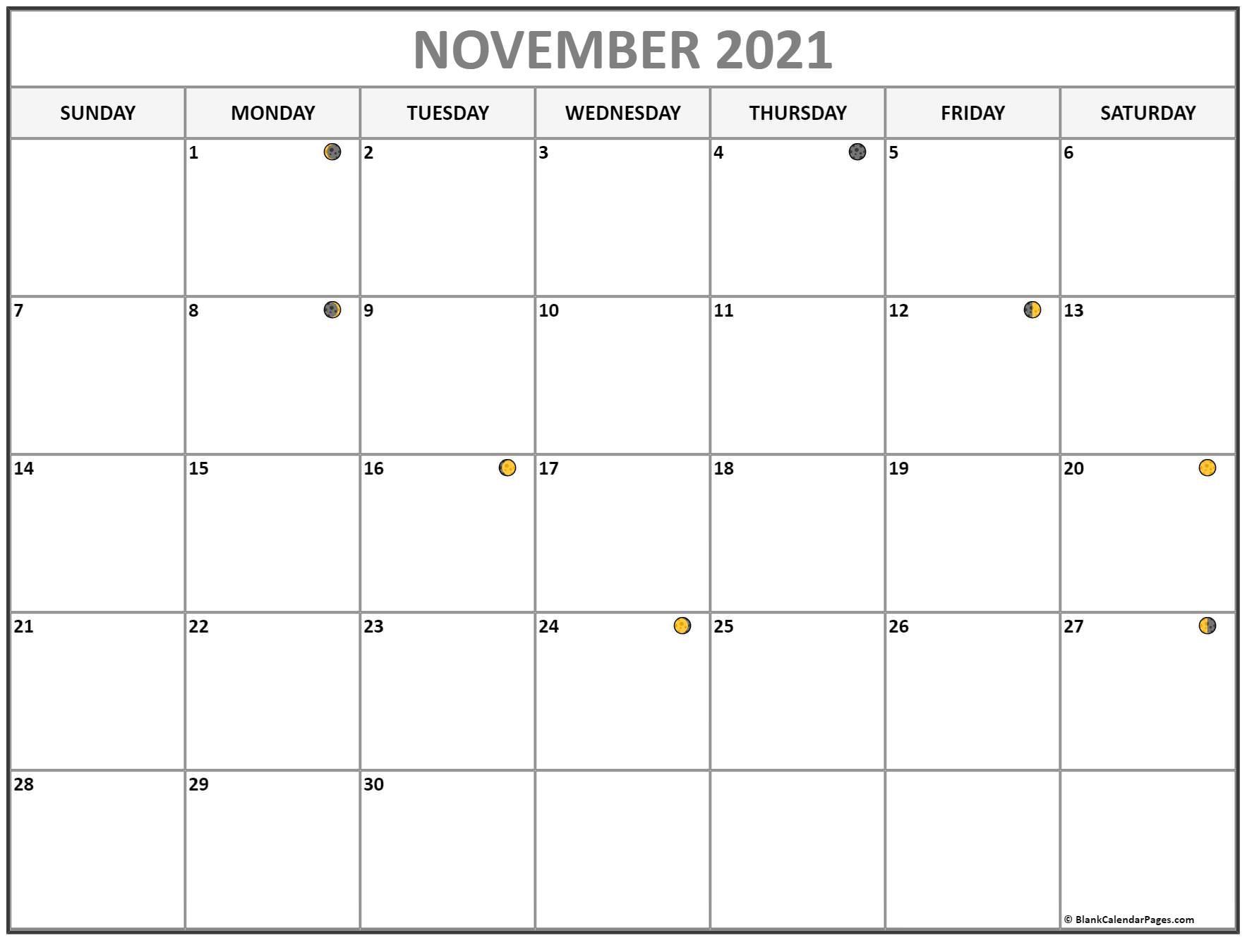 Moon Phase ::Blank Calendar November 2021 Printable