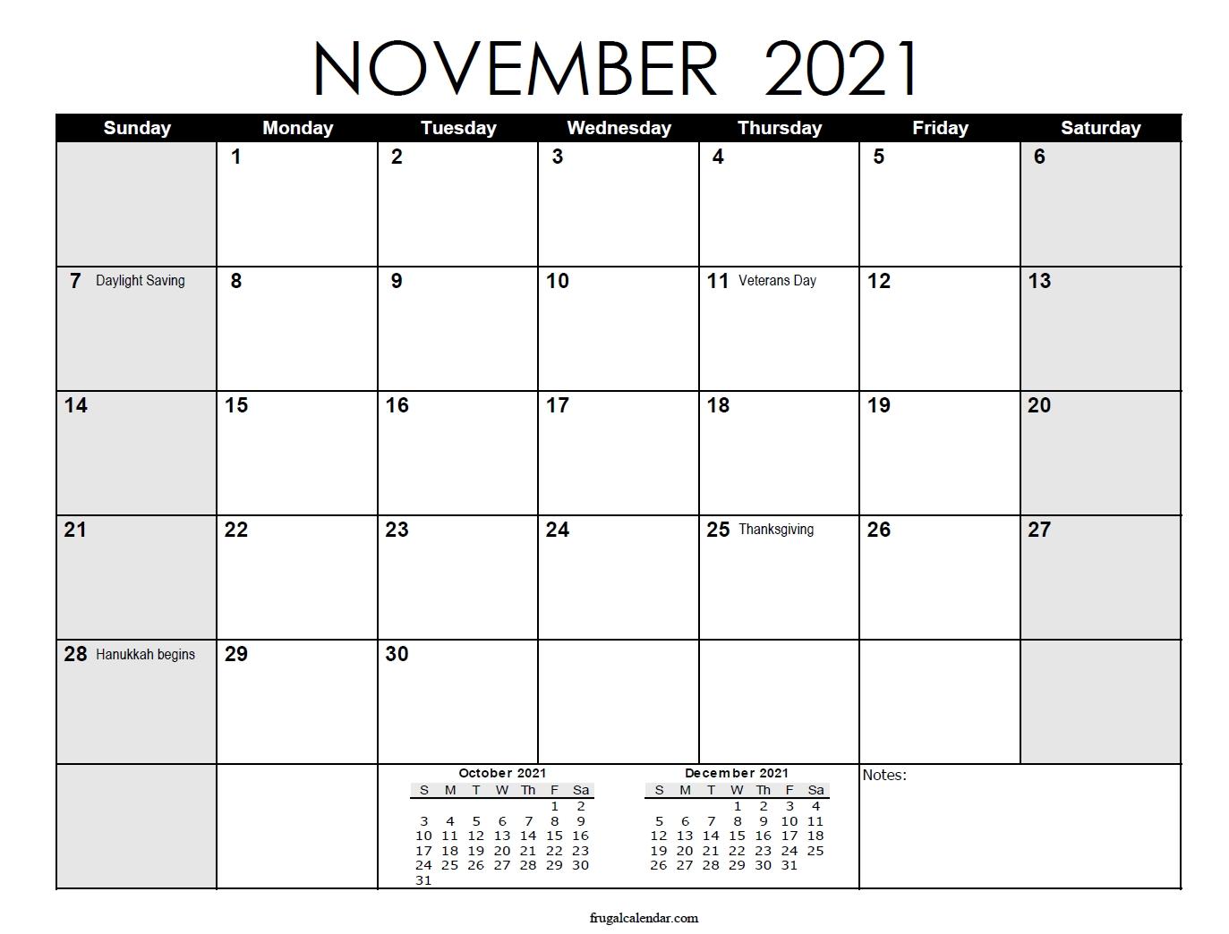 Notes ::Blank Calendar November 2021 Printable