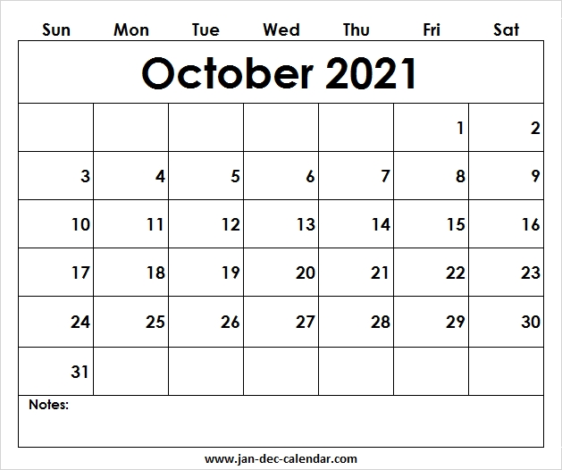 Notes::Blank October 2021 Calendar Printable