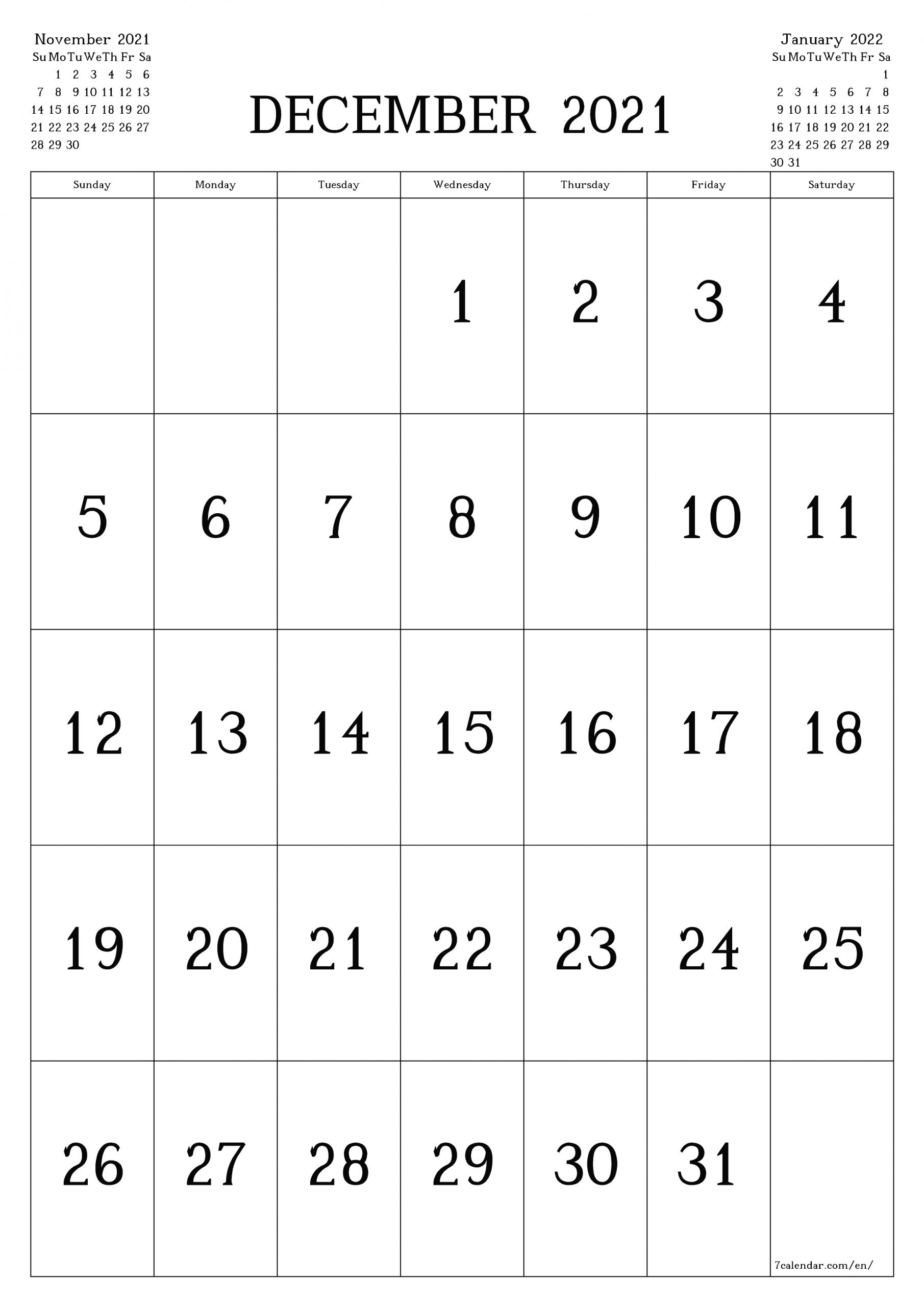 Planner ::Blank Calendar December 2021 Printable Free