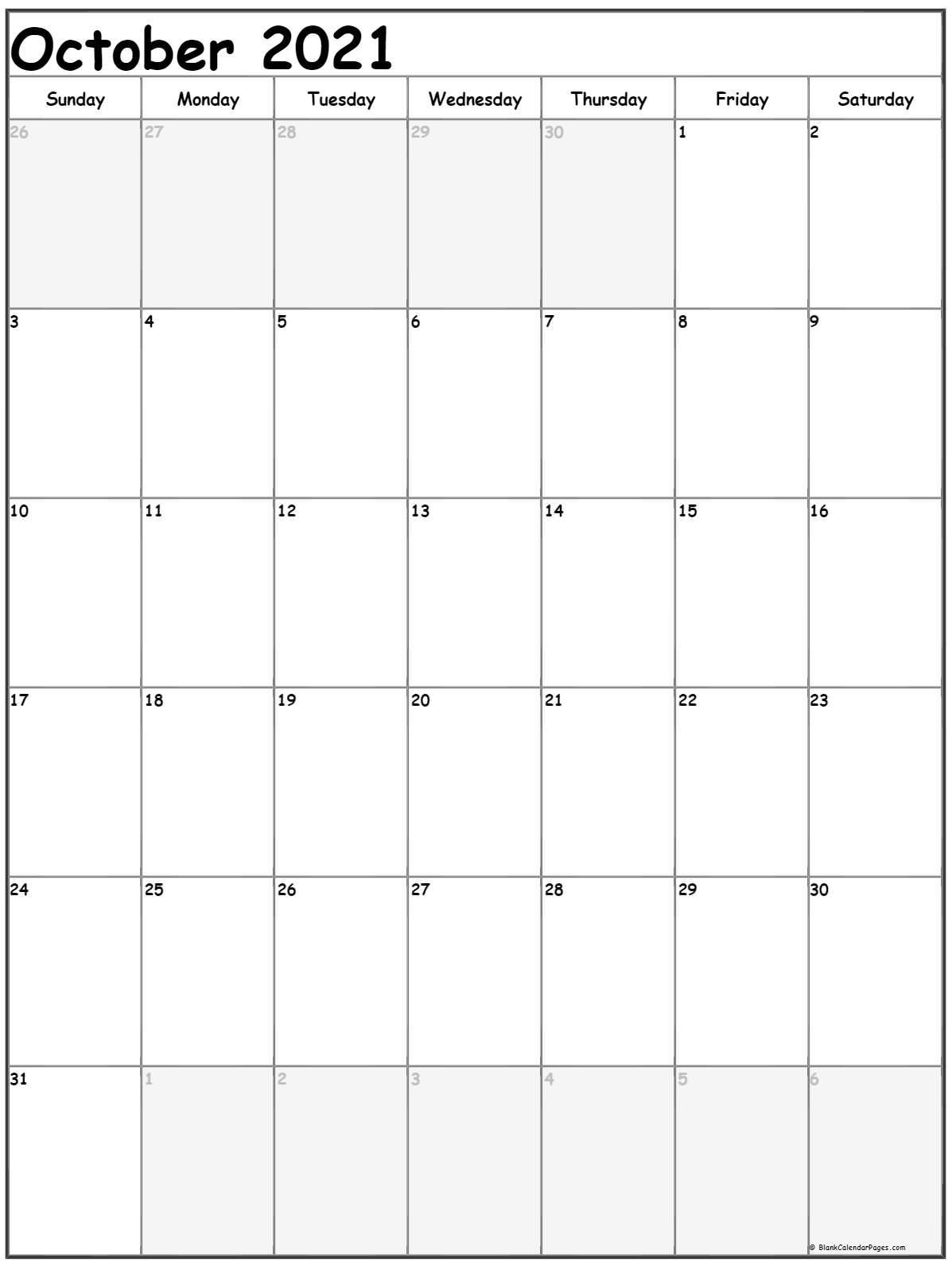 Portrait::Blank October 2021 Calendar Printable