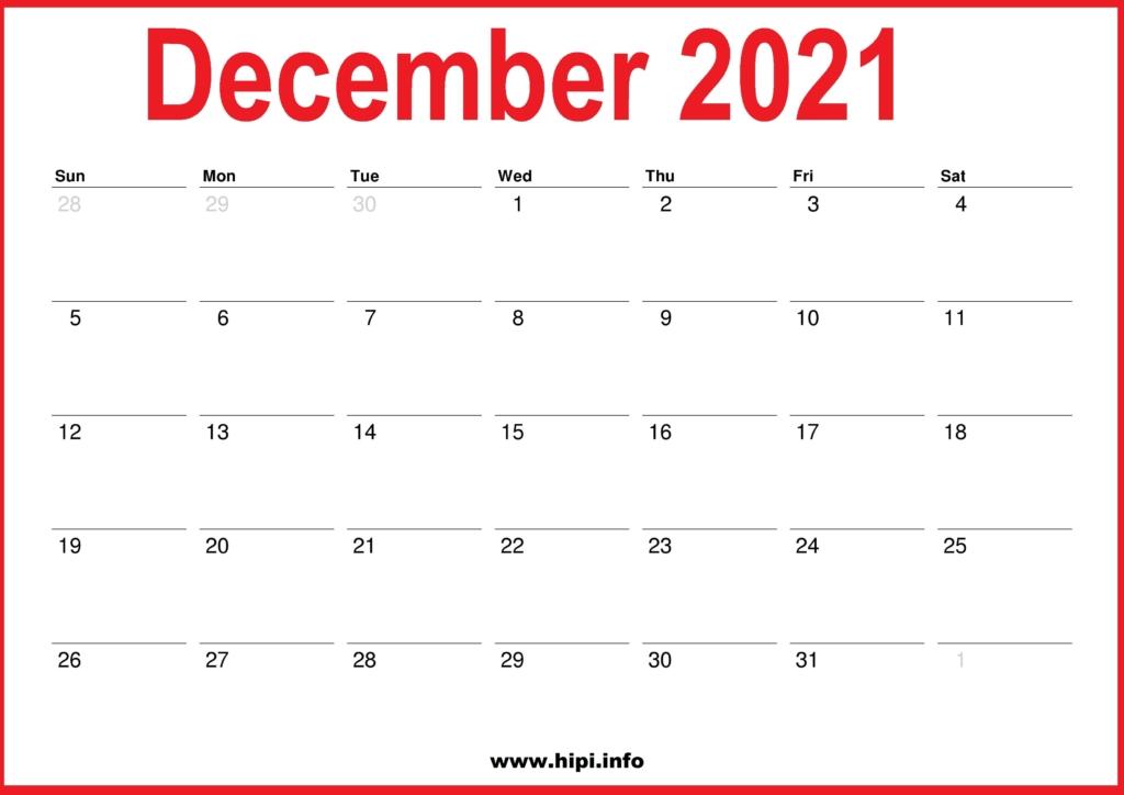 Red Calendar ::Blank Calendar December 2021 Printable Free