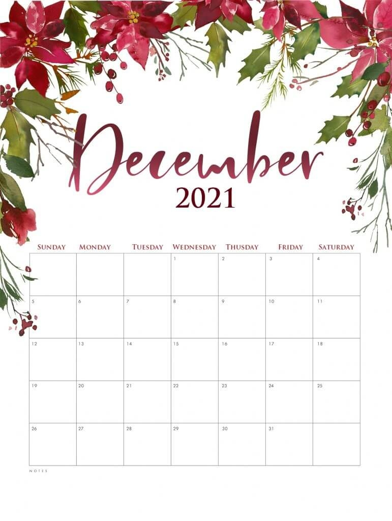 Red Flower Calendar ::Blank Calendar December 2021 Printable Free
