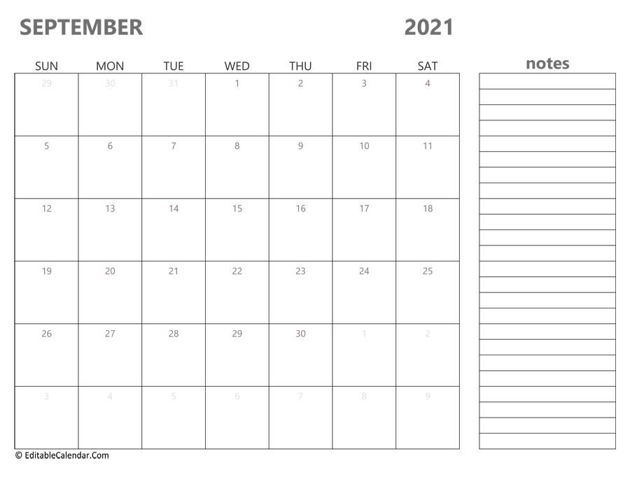 september 2021 calendar templates::September 2021 Calendar With Note