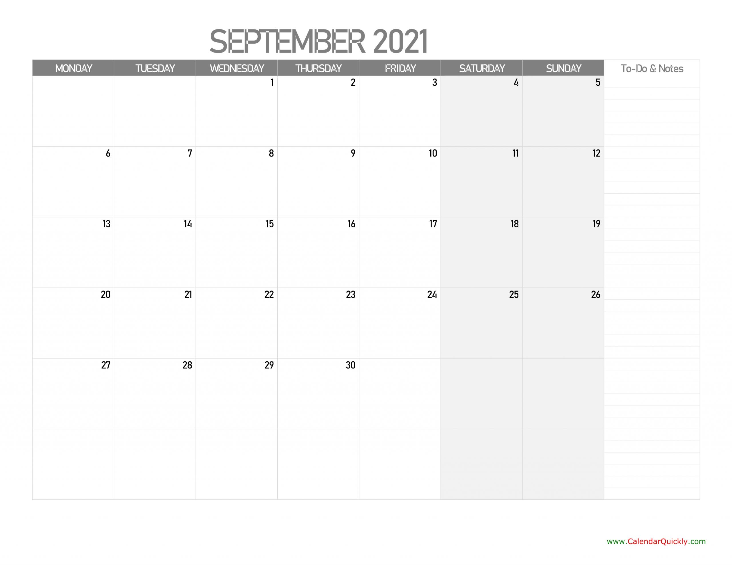 september monday calendar 2021 with notes calendar quickly::September 2021 Calendar With Note