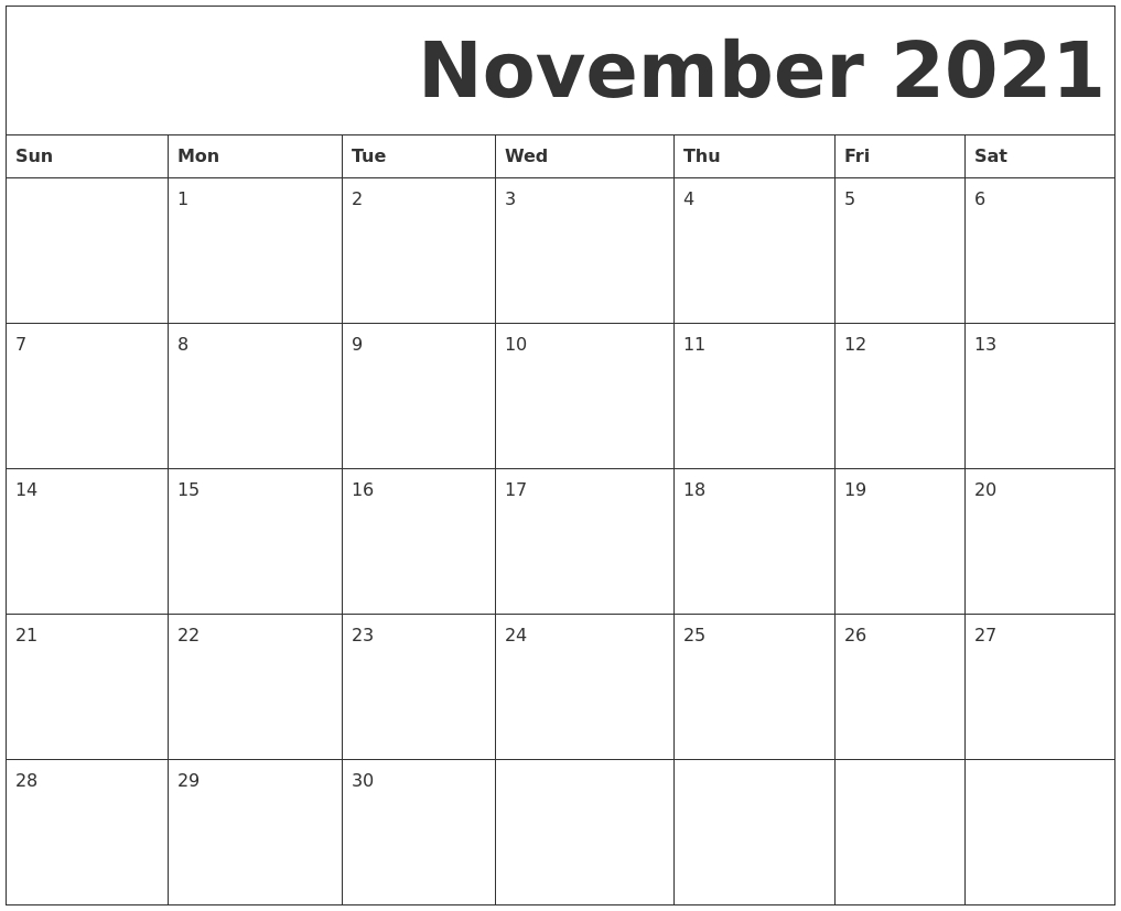 Blank Calendar November 2021 Printable