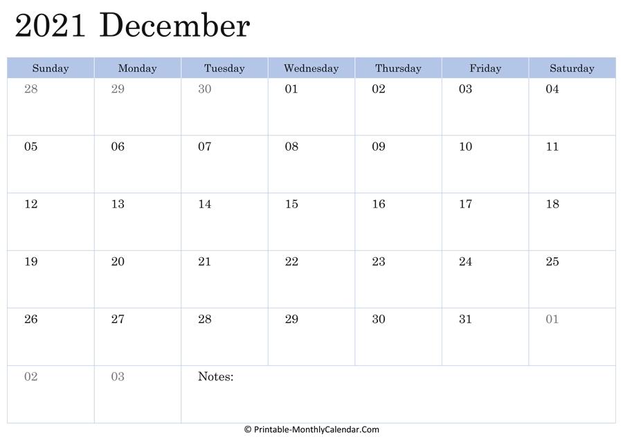 Simple Blue ::Blank Calendar December 2021 Printable Free