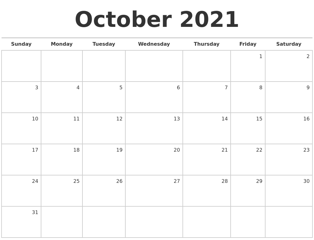 Simple Nice::Blank October 2021 Calendar Printable