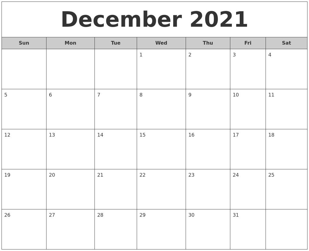 Simple White ::Blank Calendar December 2021 Printable Free
