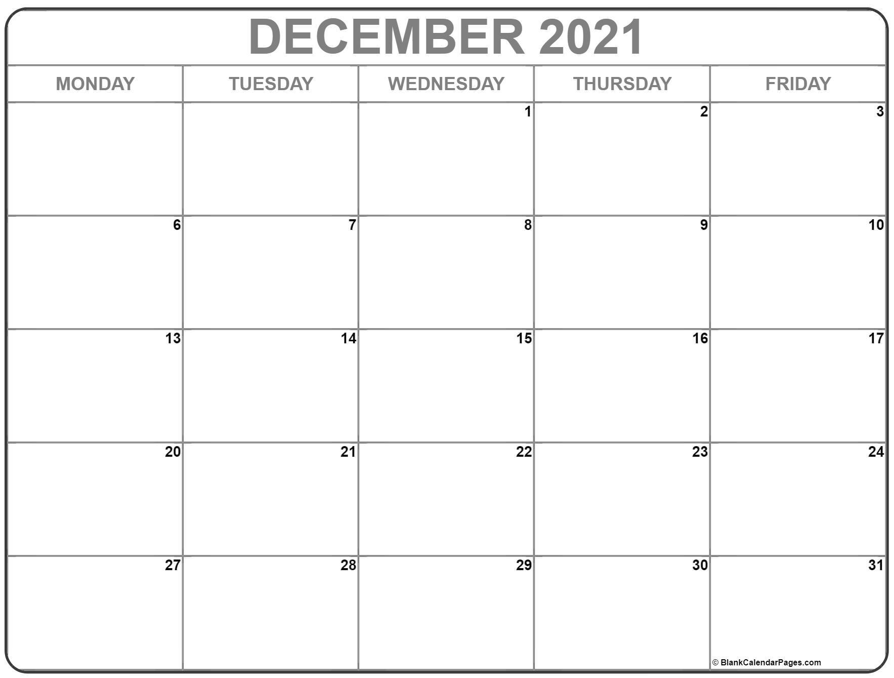 Sunday to Monday ::Blank Calendar December 2021 Printable Free