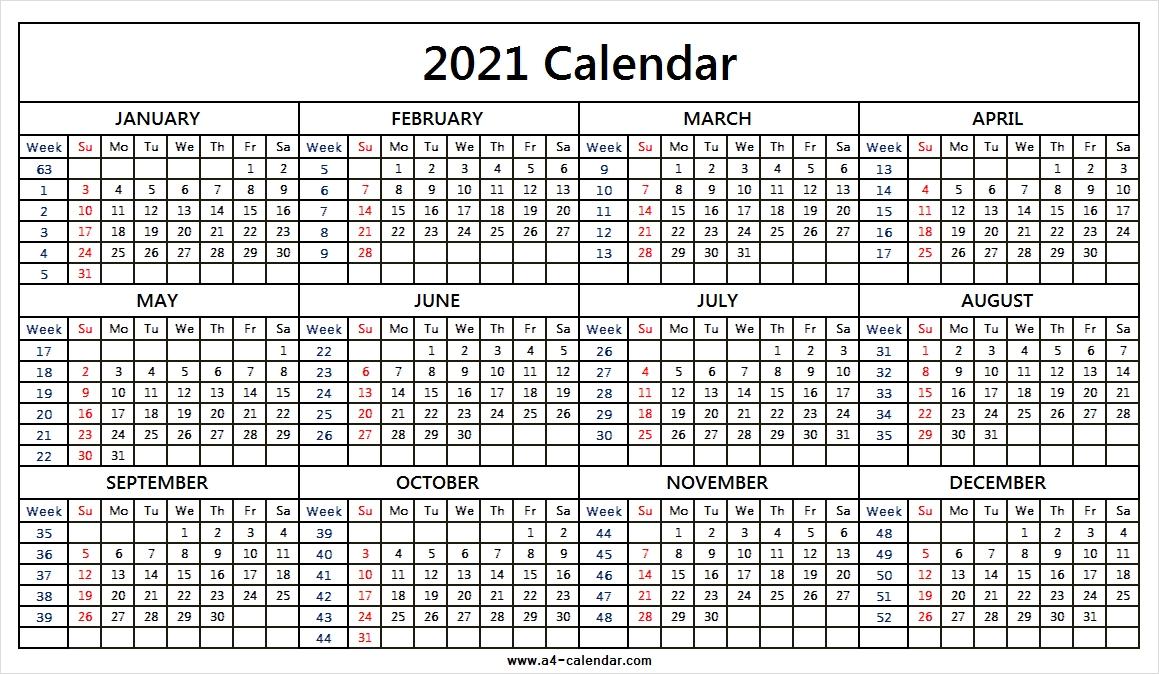 All Month::Calendar 2021 Week Number