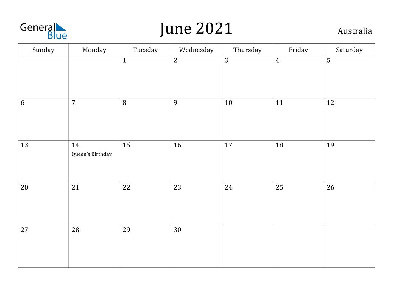 Australia ::June 2021 Calendar With Holiday