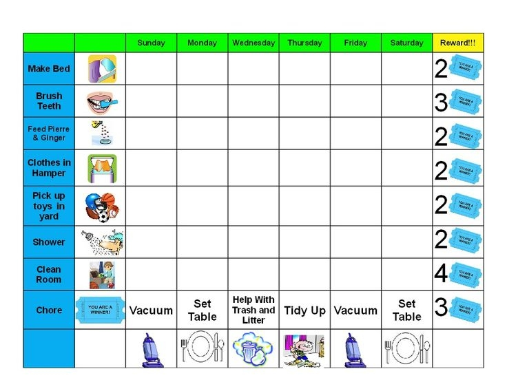 Reward Chart for Toddlers Printable