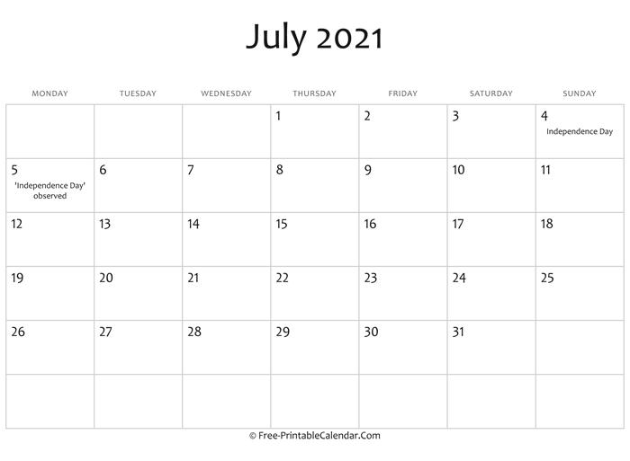 blank calendar::July 2021 Calendar With Holiday