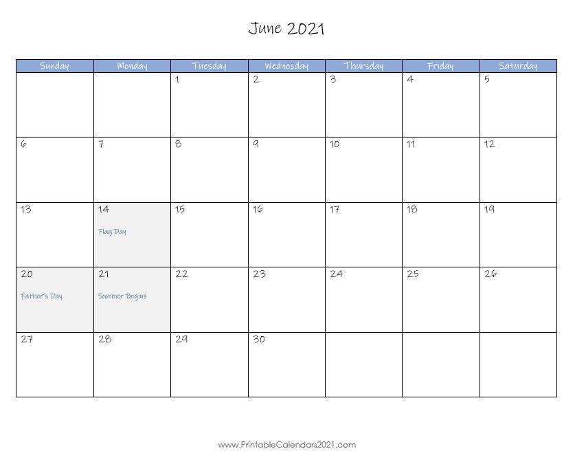 Blank Printable ::June 2021 Calendar With Holiday