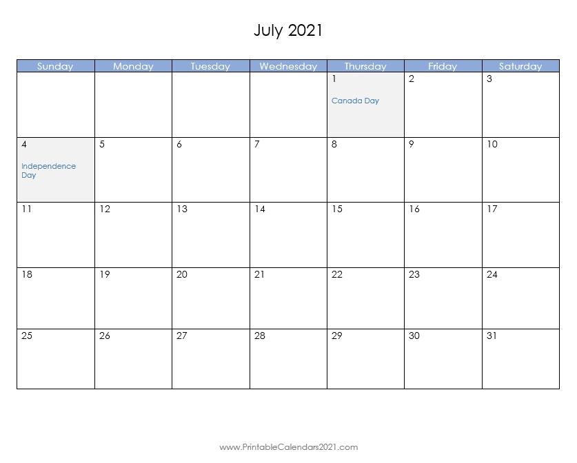 blue header calendar::July 2021 Calendar With Holiday