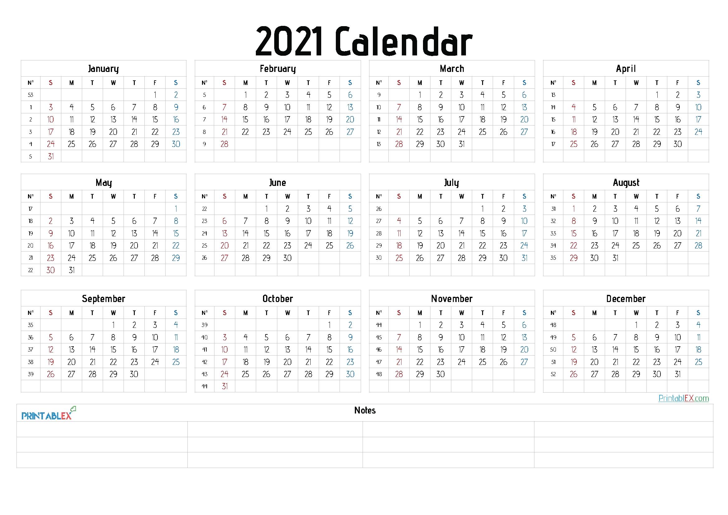Calendar Free::Calendar 2021 Week Number