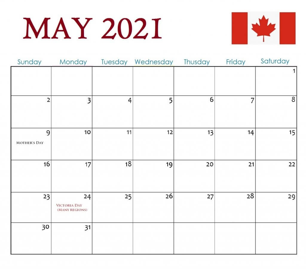 Canada::may 2021 calendar with holidays