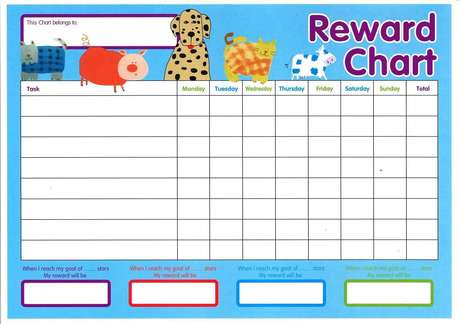 chuckles and smiles navigating behaviour change::Reward Chart with Sticker