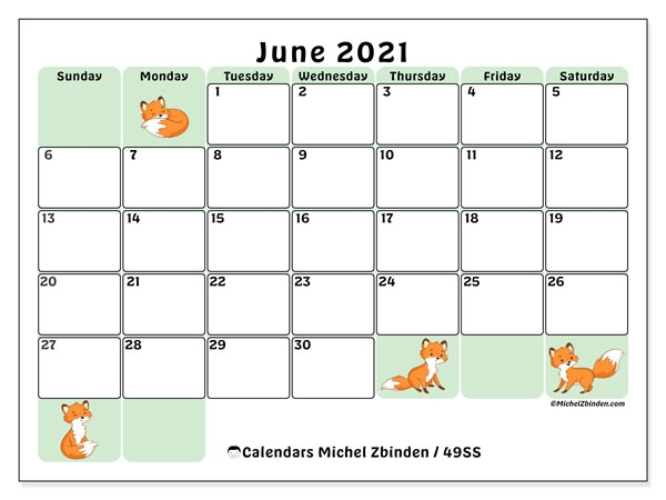 Cute::June 2021 Calendar With Holiday