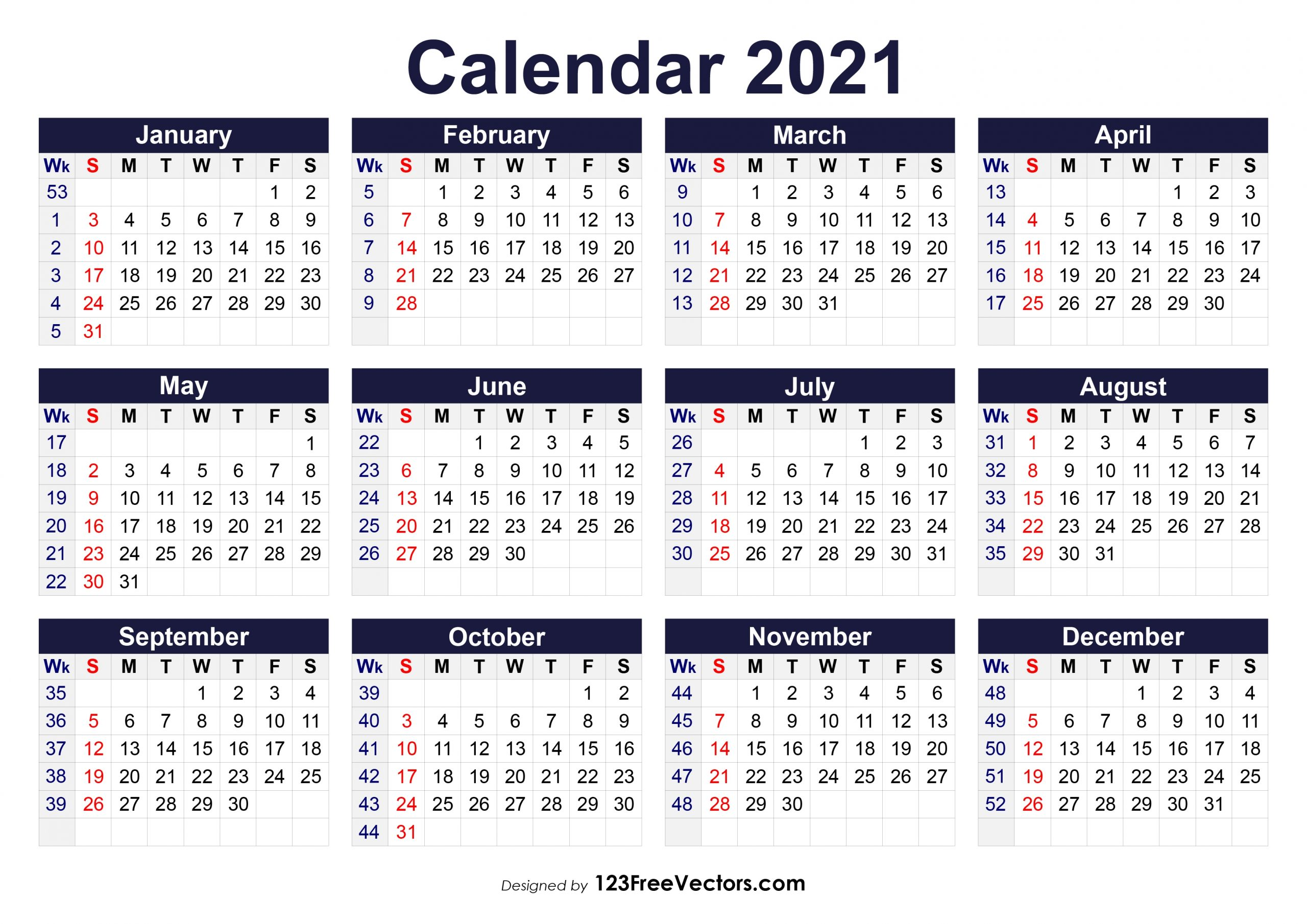 Financial calendae::Calendar 2021 Week Number