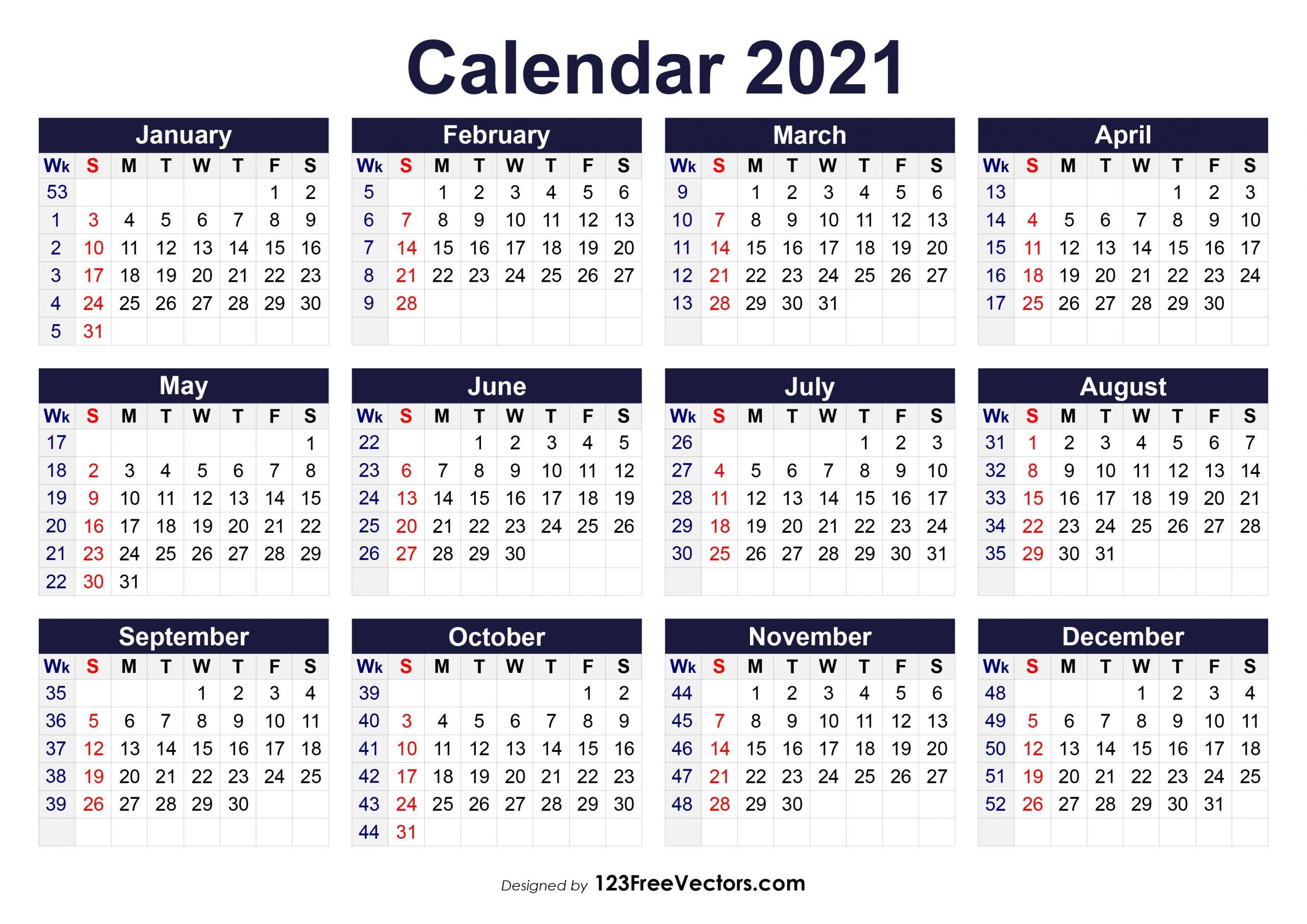 Gregorian Calendar 2021 Week Number