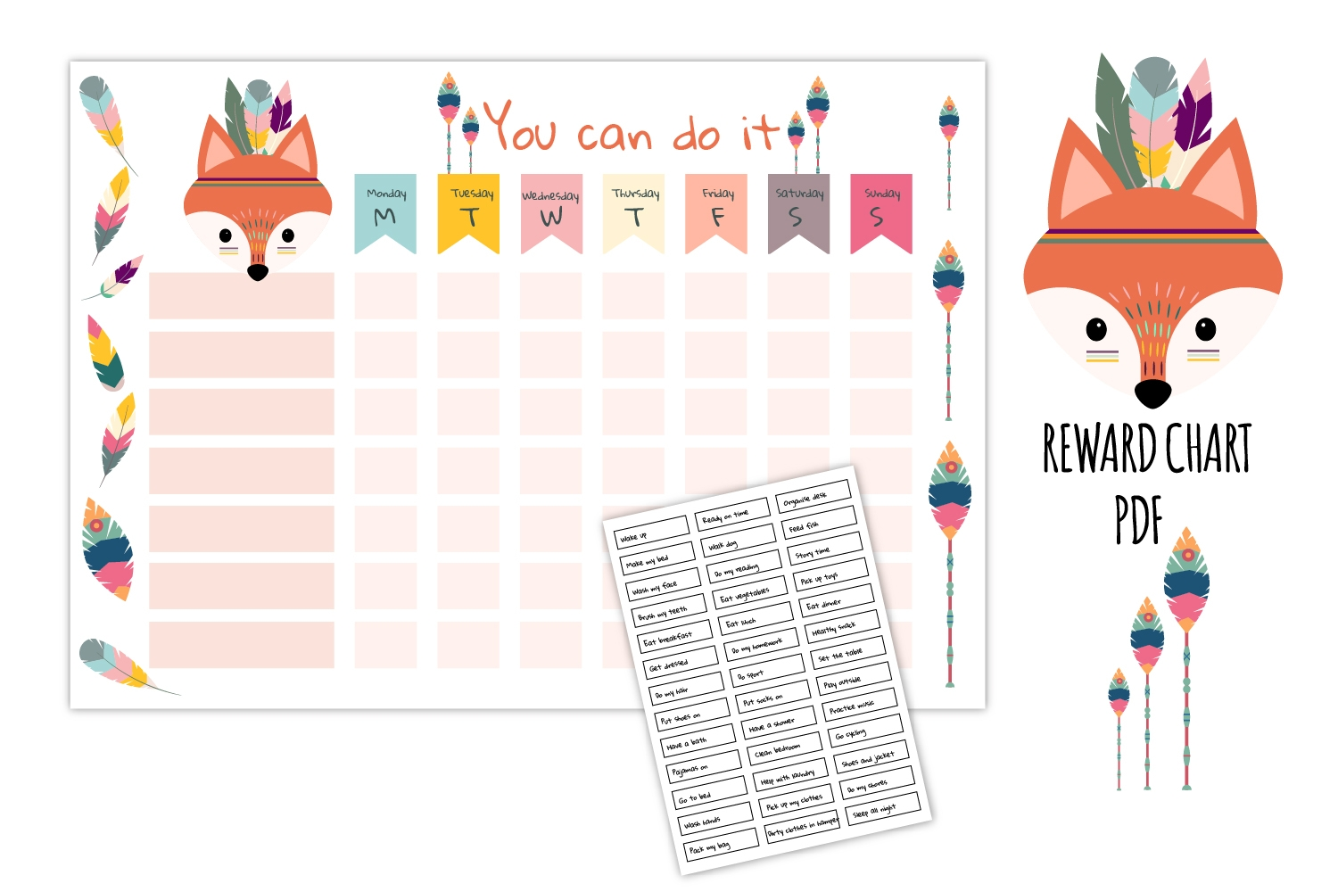 fox reward chart cute tribal graphic kids daily routine::Reward Chart For Kids Snoopy