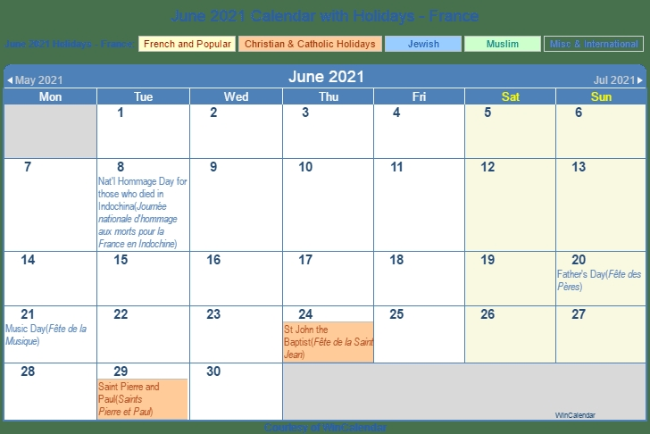 France ::June 2021 Calendar With Holiday