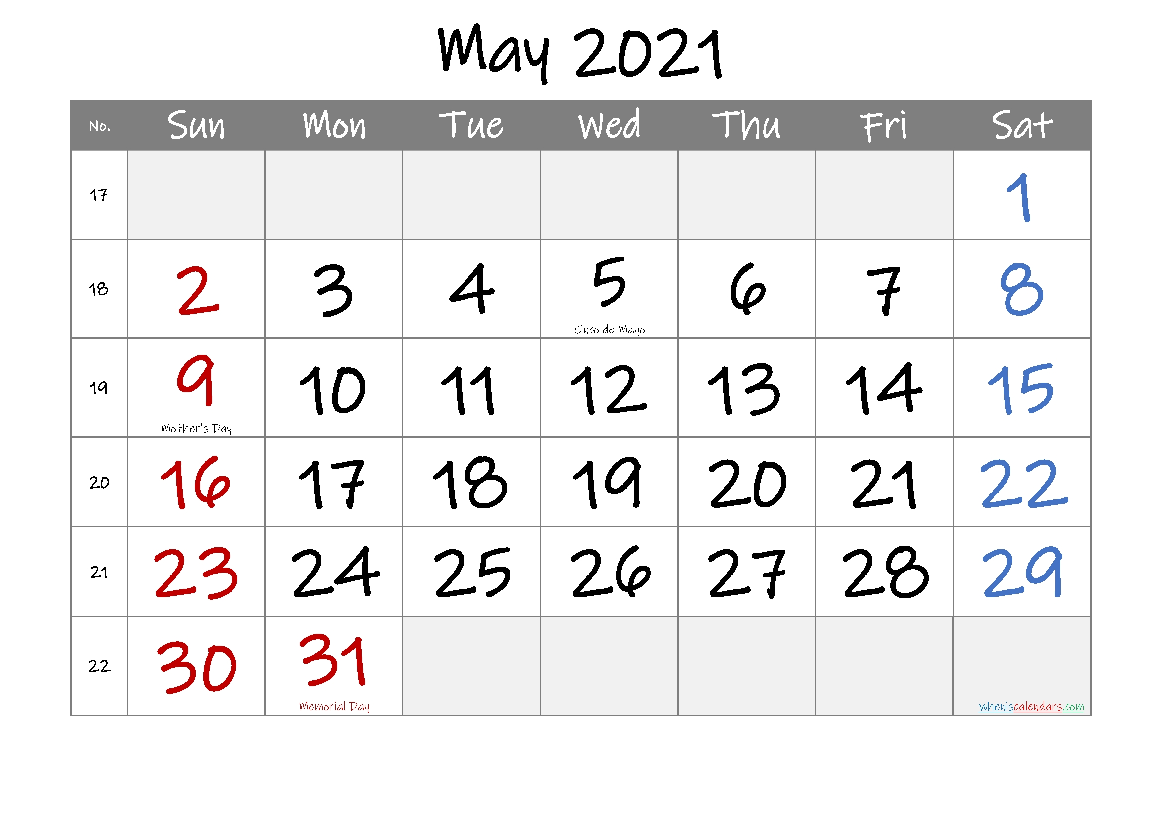 Free ::may 2021 calendar with holidays