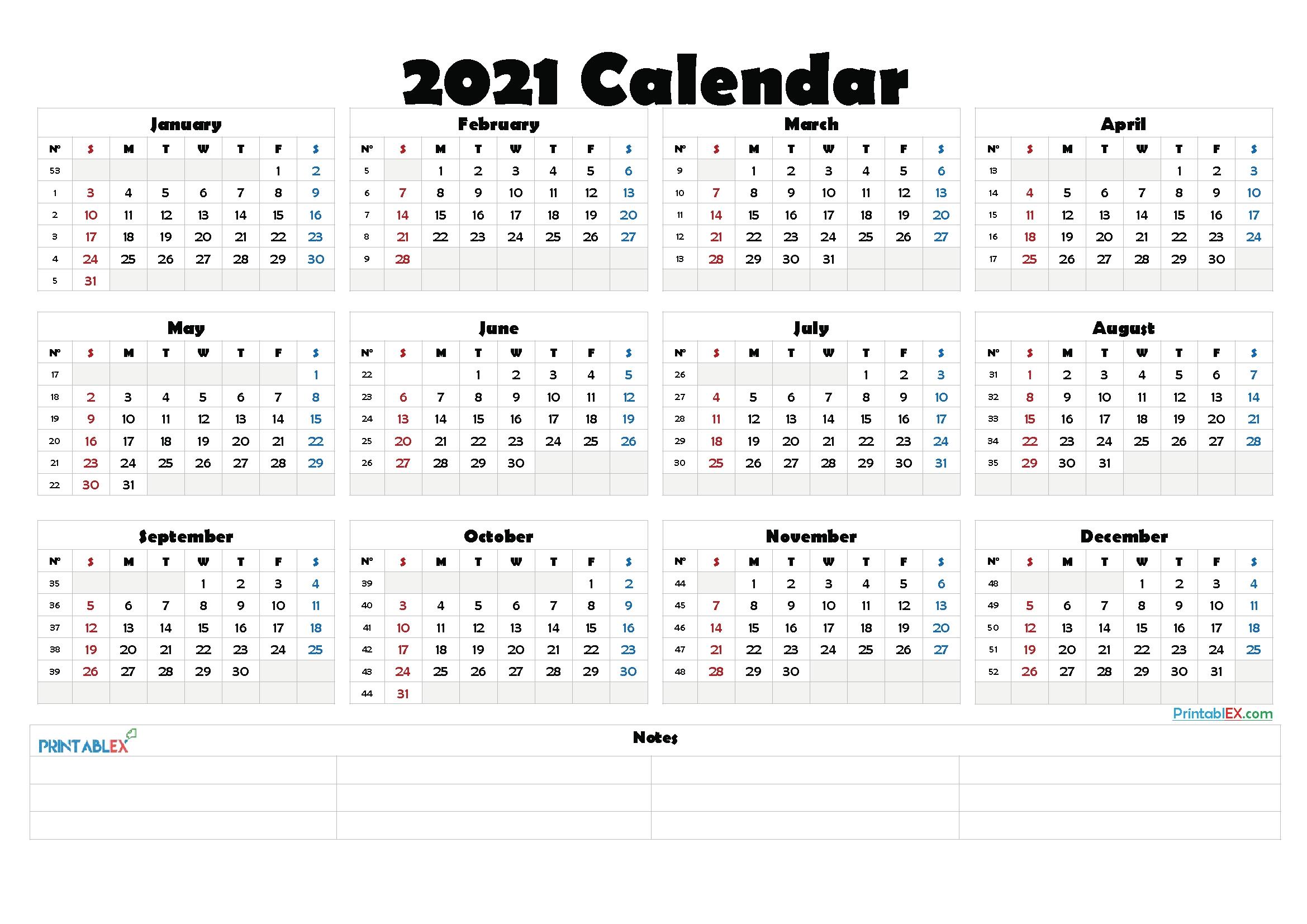 Free Yearly calendae::Calendar 2021 Week Number