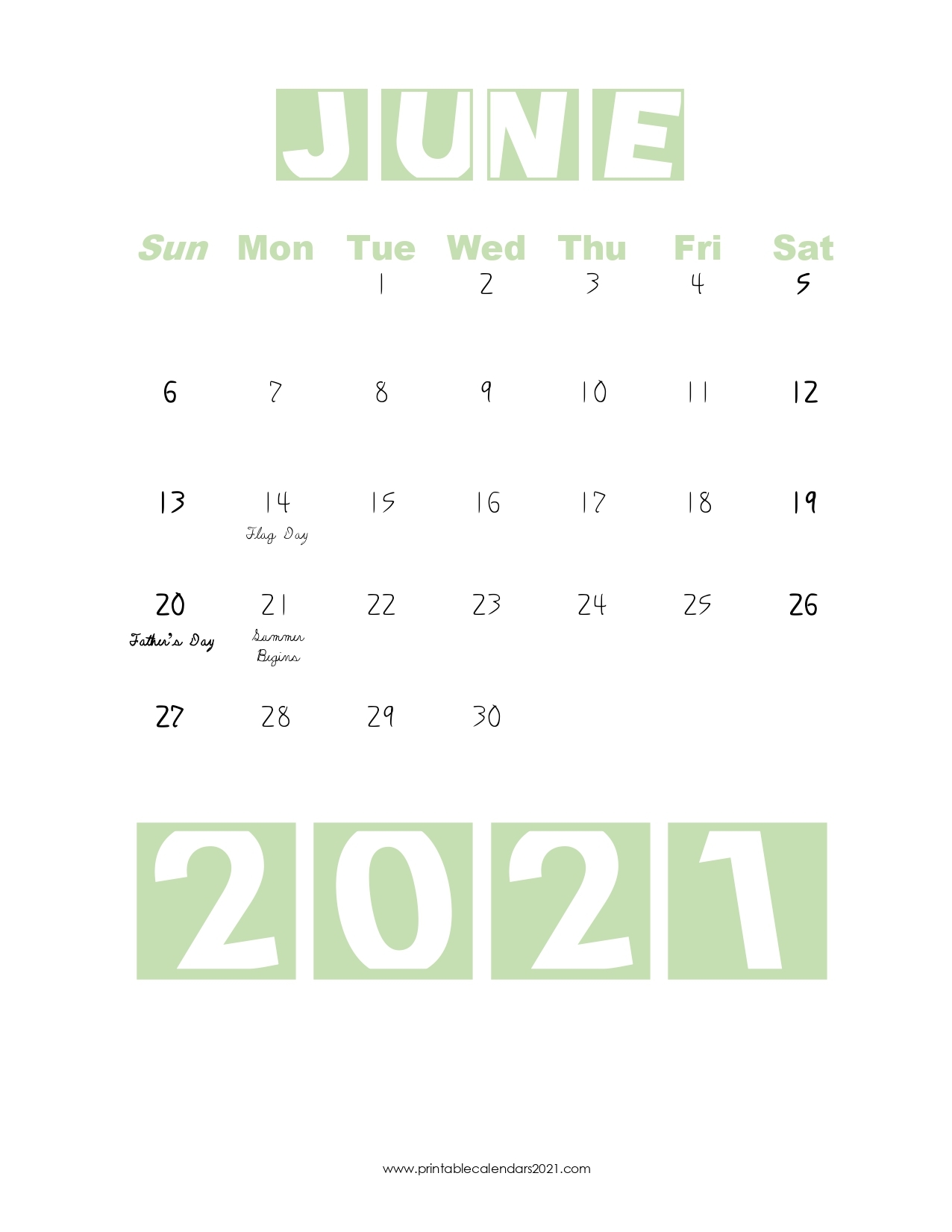 Green Blank PDF::June 2021 Calendar With Holiday
