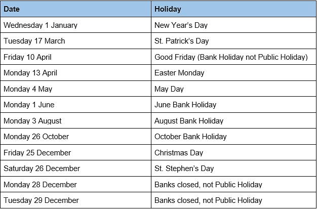 Ireland Holidays::Calendar 2021 UK With Bank Holidays