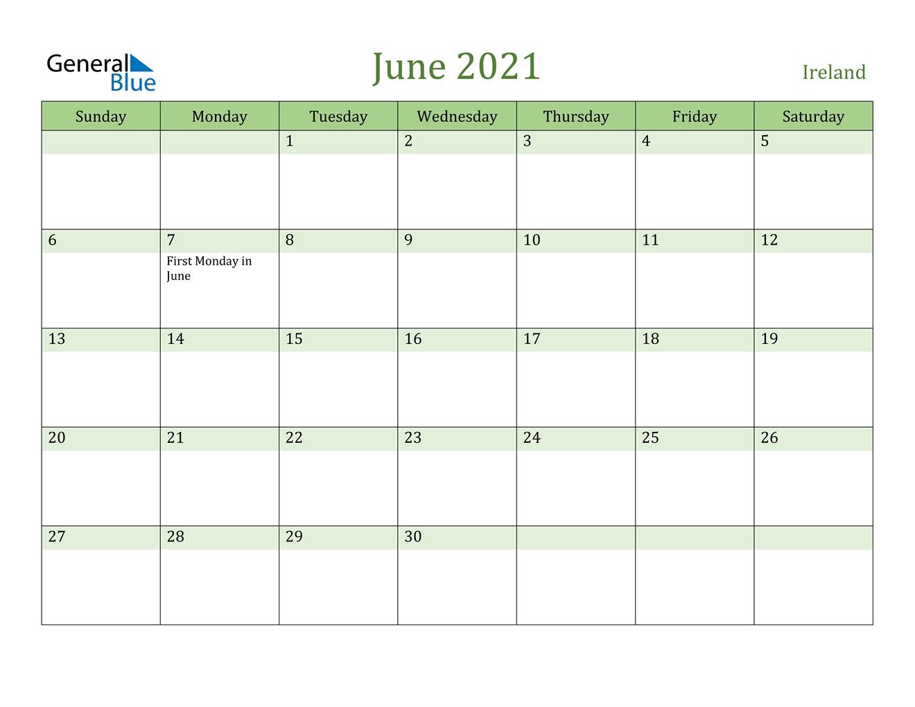 Ireland::June 2021 Calendar With Holiday