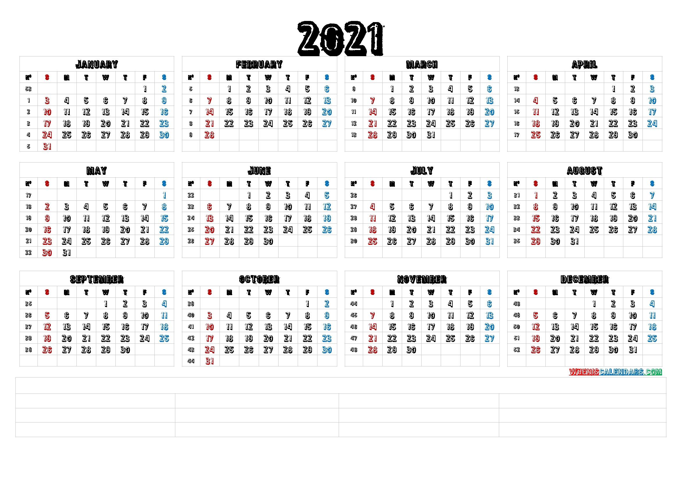 Monhtly::Calendar 2021 Week Number