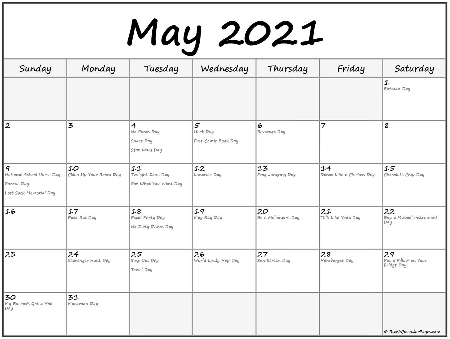 Monthly ::may 2021 calendar with holidays