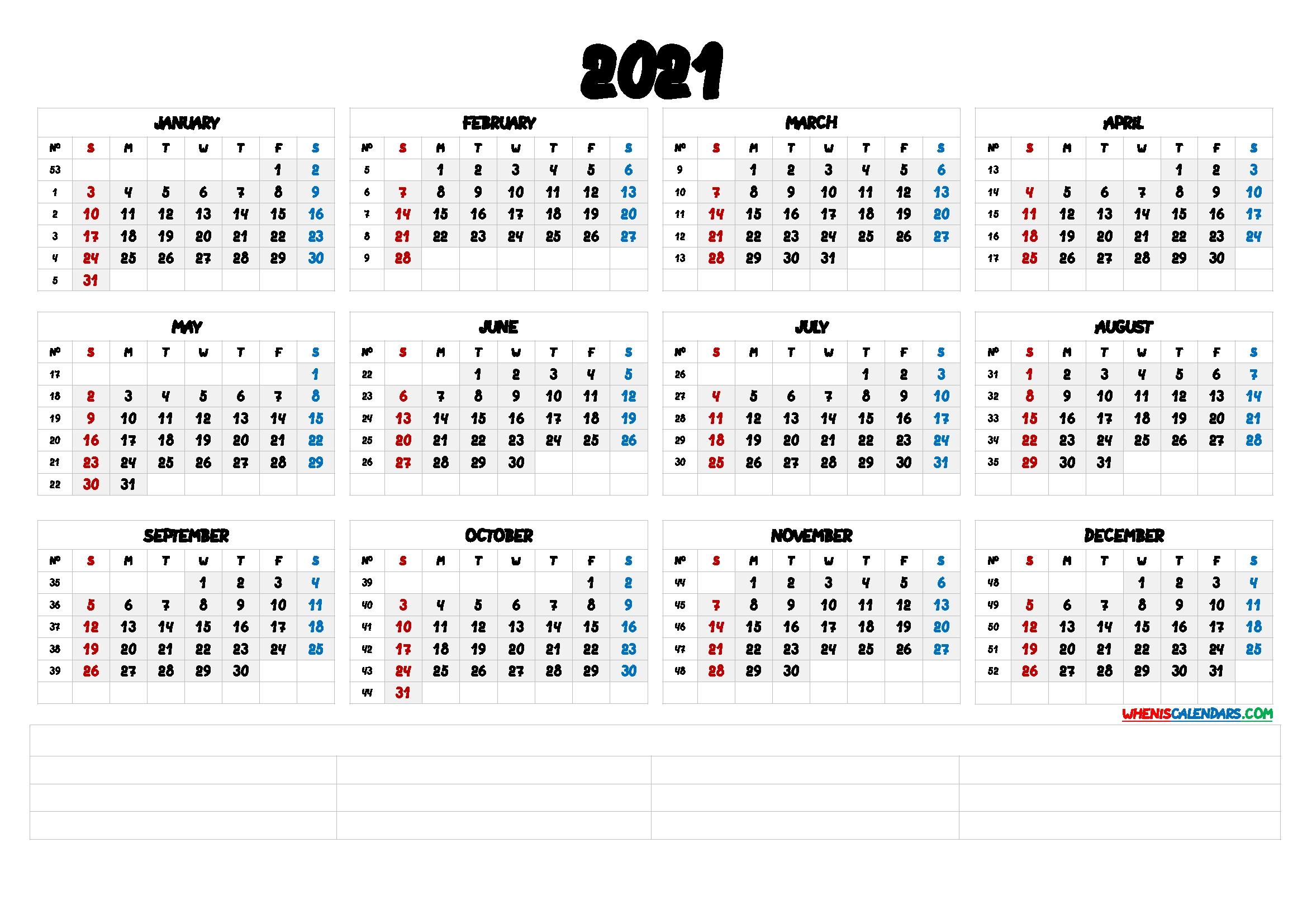 PDF calendar::Calendar 2021 Week Number