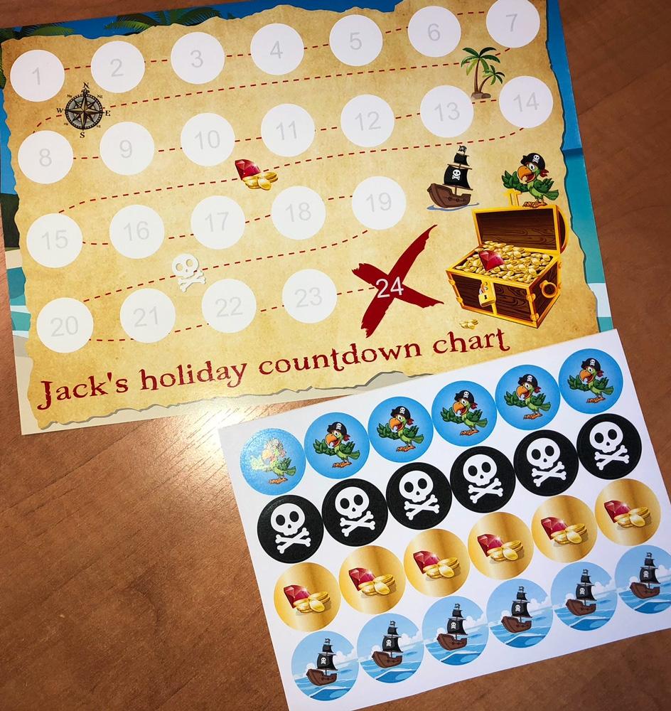 personalised countdown reward chart with 24 stickers pirate map design stickerzone::Reward Chart with Sticker