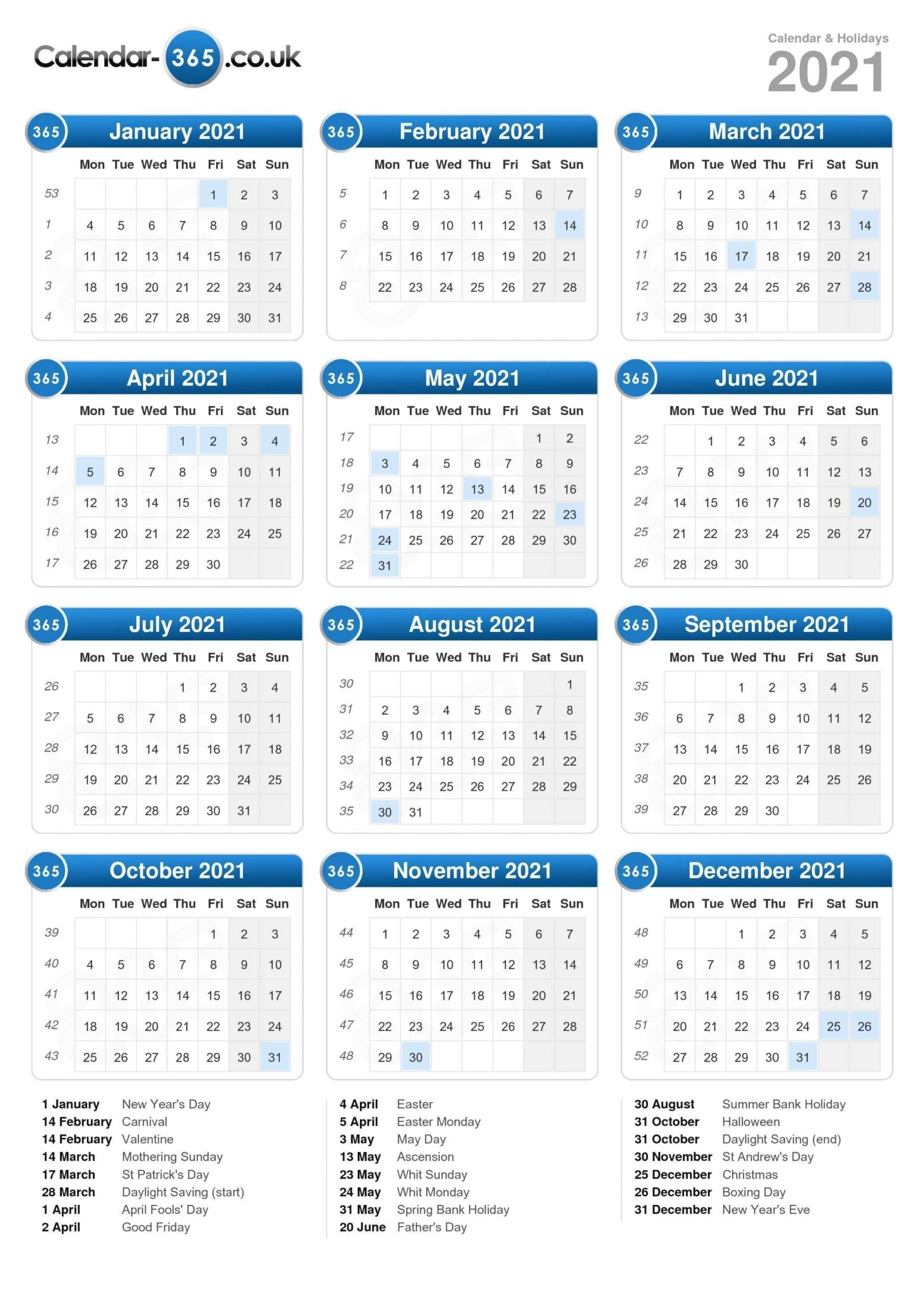 printable 2021 calendar uk::Calendar 2021 UK With Bank Holidays