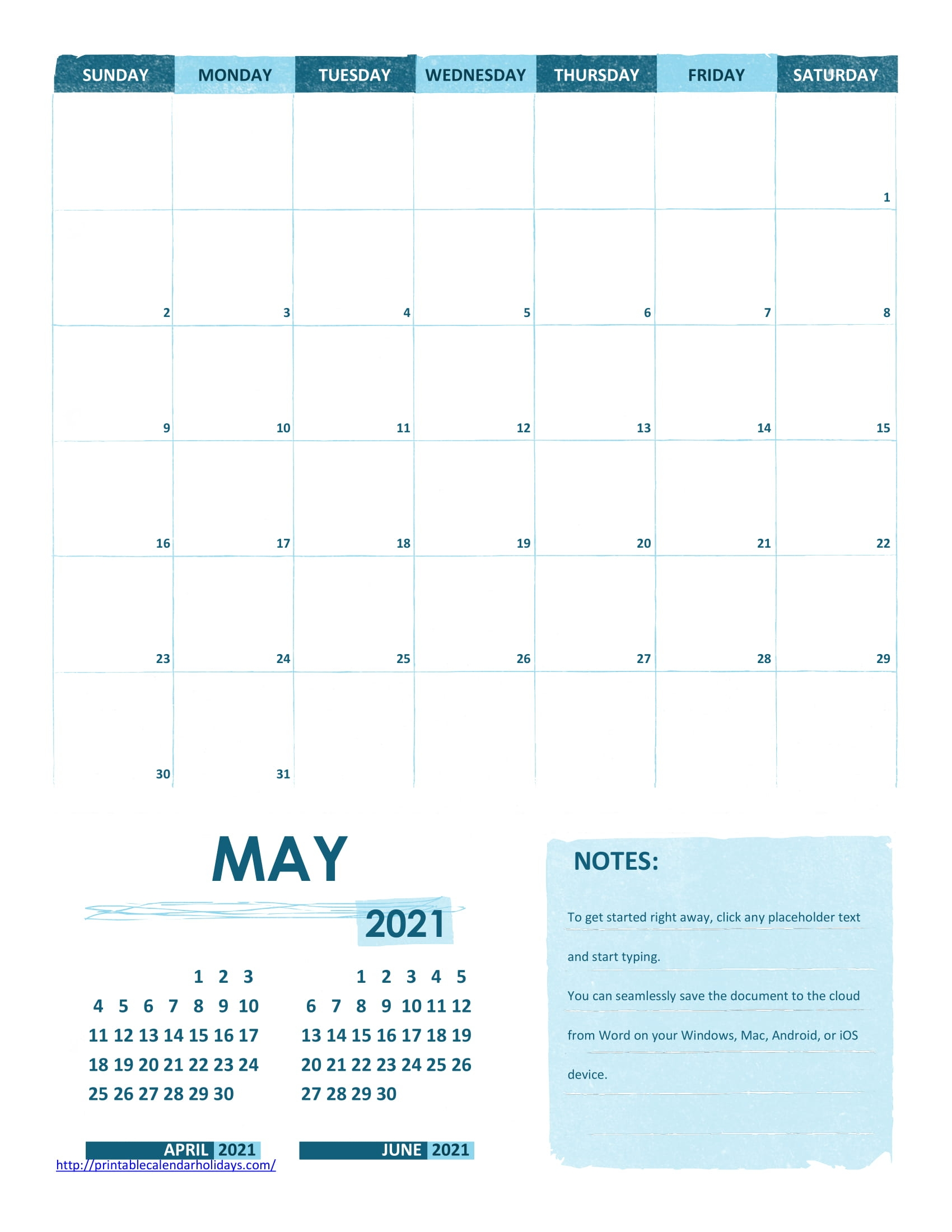 Printable ::may 2021 calendar with holidays