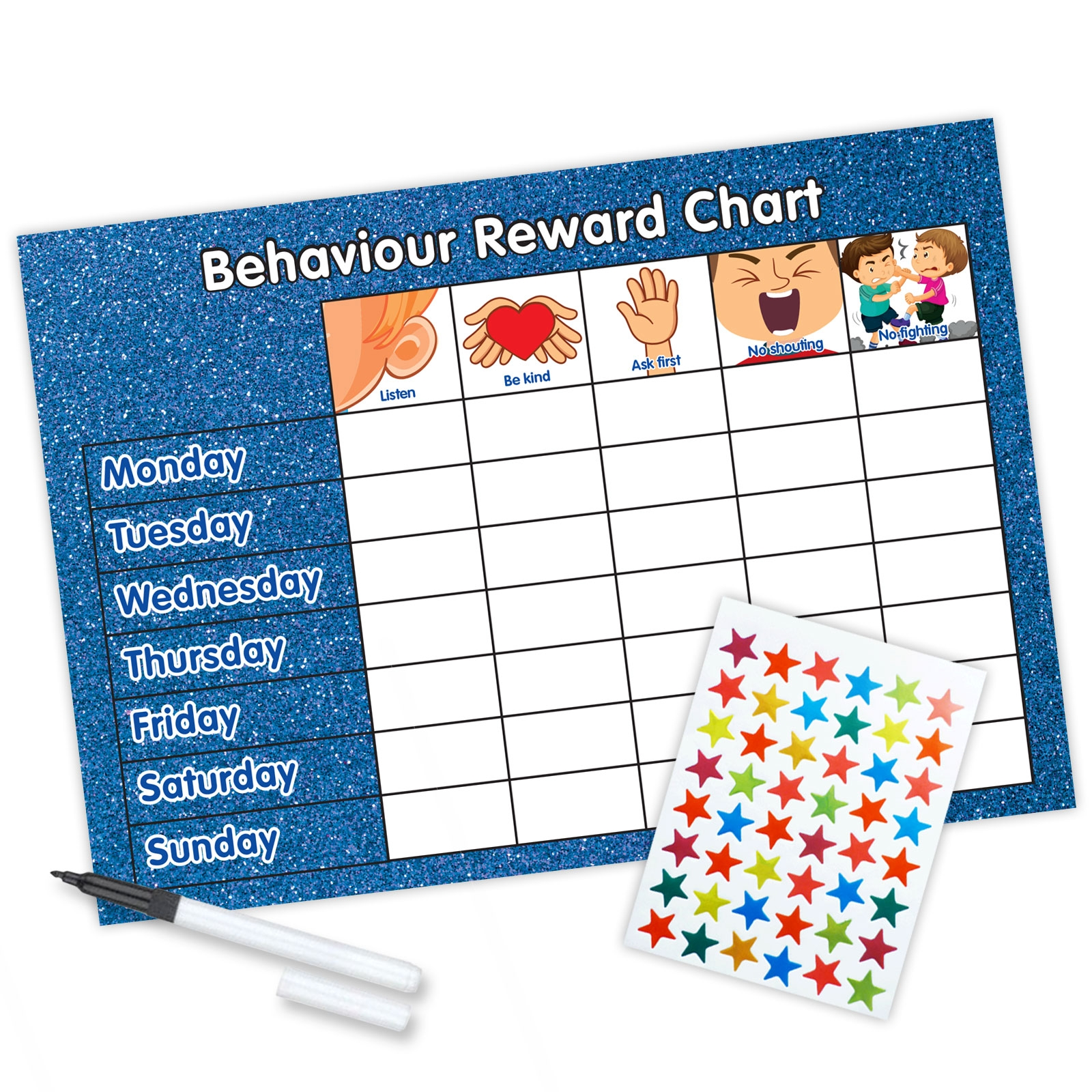 reward chart behaviour a4 blue glitter funky monkey house::Reward Chart with Sticker